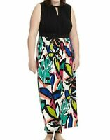 London Times Stretch Braided Halter Maxi Dress In Floral Print Plus Size 20W