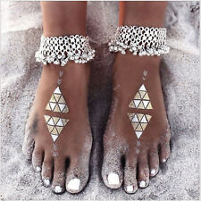Boho Women Sexy Silver Anklet Chain Ankle Bracelet Foot Jewelry Barefoot Sandal