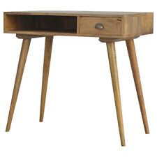 Solid Wood Writing Desk 1 Drawer 88cm x 45cm Open Slot Scandi Style Home Office