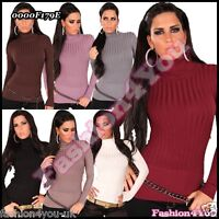 Sexy Women's Jumper Ladies Turtleneck Warm Striped Sweater Size 8/10,12/14 UK