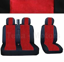 MERCEDES SPRINTER W901-W905 Sitzbezüge 2+1 Kopfstütze Schwarz / Rot DE LUX STOFF