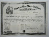 Antique Iowa State Teacher Certificate Poweshiek County Eliza Bush 1879