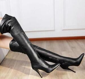 Women Sexy Leather High Heel Pointy Toe Over The Knee Thigh High Boots New Shoes