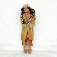 """Vintage Skookum Bullygood Indian Native American Doll with Papoose 15"""" Sticker"""