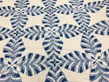 Thibaut Leaf Kaleidoscope Linen Print Fabric- Starleaf / Blue 1.20 yd F92974
