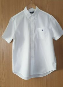 *** RALPH LAUREN MEN'S SEERSUCKER SHORT SLEEVE SHIRT WHITE *** SIZE L ***