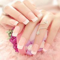 NEW 24pcs Manicure White Long French Style False Tips Fake Nails StickersCSH