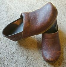 Sanita Womens Clog Size 40 US 9 Brown Paisley Leather Enbellished Danish