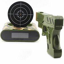 Novelty Gadget Funny LCD Gun Alarm Clock Target Panel Shooting Game Toys Gifts
