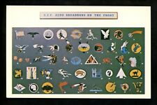Military postcard A.E.F. Aero Squadrons on the Front WWI Air Service Patches
