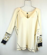 Free People Womens M LOVIN LEOPARD Oversized Tunic Thermal Shirt Top IVORY