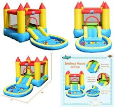 Inflatable Water Slide Safe Kids Bounce House Castle Splash Pool Playing Area