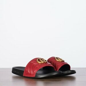 GUCCI 480$ Men's Slide Sandals In Red Chevron Leather With Double G Buckle