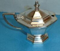 VINTAGE MUSTARD POT SILVER PLATED - MAPPIN AND WEBB W 25153