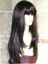NEWJF954 long dark brown straight bangs health hair wigs for women's hair wig