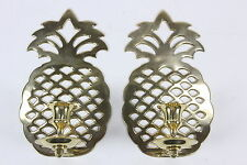 Pair Brass Pineapple Candle Sconces Matching Wall Mount Hollywood Regency Decor