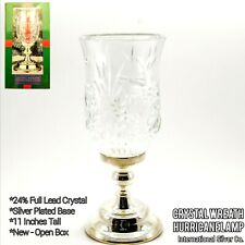 International Silver Co Hurricane Lamp Lead Crystal Globe and Silver Plated Base