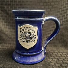 Vintage John Deneen Pottery Coffee Mug King Richards Faire Cobalt Blue