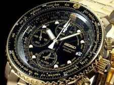 SEIKO SNA414 SNA414P1 Flightmaster Pilot Chronograph Alarm 200m Gold !