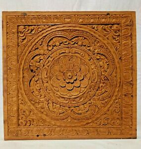 Antique Floral Mandala Wall Panel Teakwood Hand Carved Decor Vintage Plaque Art