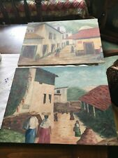 2 Mexican Village original hand painted by 14 x 18 - free shipping