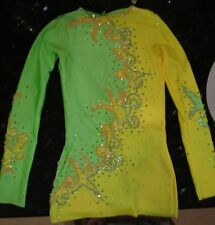 Kids Girls Lime Green Competition Ice Figure Skating Dress 4-6 New Gorgeous !!!