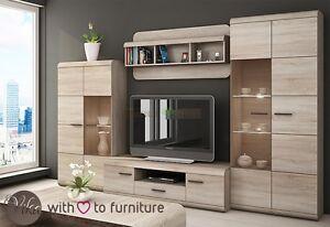 Living room furniture set LUCANO . LCD TV unit Glass case Shelf FREE DELIVERY