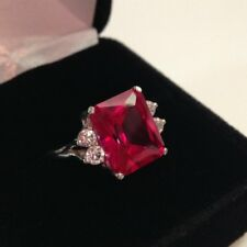 1.3ct Emerald Cut Pink Ruby Diamond Accent Solitaire Ring 14k White Gold Finish