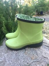 Women's Short Rain Boots Garden Ankle Shoes Green, Size: 9