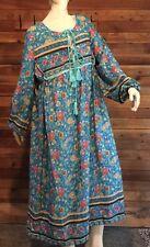 Vintage Teal Blue Floral Size 3Xl Robe #9033