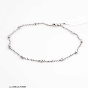 """0.50 CT GENUINE DIAMOND BY THE YARD ANKLET BRACELET 14K SOLID WHITE GOLD 9"""" LONG"""