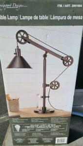 Pulley End Table Desk Lamp Adjustable Light Industrial Bronze Finish Steel (1975