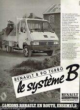 Publicité advertising 1986 Camion Camionette Renault B 90 Turbo