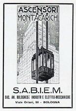 PUBBL.1930 SABIEM S.A.B.I.E.M. BOLOGNA ASCENSORI MONTACARICHI GRATTACIELI 11X7