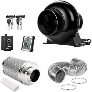 iPower 4'' 195 CFM Inline Fan Carbon Filter 8 Feet Ducting Ventilation Kits