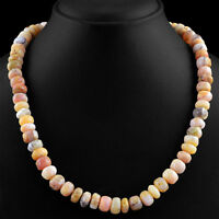 GENUINE 373.00 CTS EARTH MINED RICH PINK AUSTRALIAN OPAL UNHEATED BEADS NECKLACE