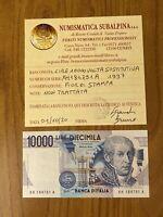 REPUBBLICA BANCONOTA LIRE 10000 VOLTA 1997 SERIE X SOSTITUTIVA certificata FDS