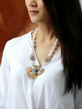 Necklace Golden Chain Pearl Baroque Pendant Ethnic Fringe Red Blue Green ZR 2