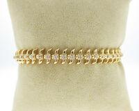 "Genuine Diamonds Solid 14k Yellow Gold Centipede 7"" Tennis Bracelet"