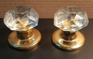 Gainsborough Dummy Knob Set Crystal with Polished Brass Base Vintage