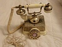 Gold Tone Rotary Desk Phone Radio Shack Tandy1970's French Style 43-329 (M9 20)