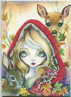 ACEO S/N LE CHRISTMAS ANGELIC GIRL FAWN DOE DEER BUNNY AUTUMN RABBIT RARE PRINT