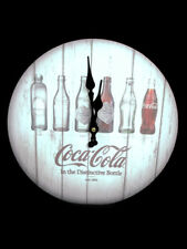 Coca-Cola Evolution Whitewashed Wooden Clock Bottle History - BRAND NEW