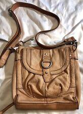 Fossil Brown Tan Orange Beige Pebbled Leather Shoulder Cross Body Purse Bag