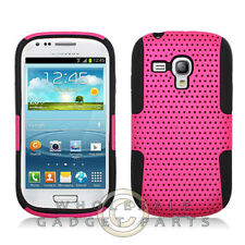 Samsung i8190 Galaxy S3 Mini Hybrid Mesh Case Hot Pink Cover Shell Protector