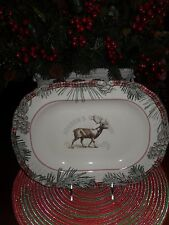 """222 FIFTH MOUNT HOLLY GREEN 14"""" OVAL SERVING PLATTER CHRISTMAS MOOSE PINECONES"""