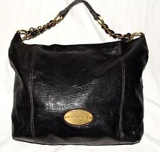 Dana Buchman Black Pebbled Faux Leather Large Hobo Tote Bag w/ Part Chain Strap
