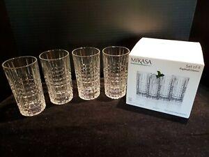 Set of 4 Mikasa Kerry Fine Crystal Highball Glasses ~ Brand New in Box 11.75 oz