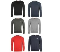 Mens Slazenger Crew Neck Fleece Sweatshirt Top Black Grey Red Blue Navy ALL SIZE
