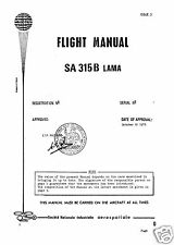 Aérospatiale SA 315B Lama 1970's HISTORIC RARE PERIOD MANUAL ARCHIVE HAL Cheetah